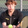 Record-Eagle/Douglas Tesner<br /> Hunter Bergsma, a junior at Traverse Central High School returns the ball in his match with Ben Smith of Davison during the Great Lakes Invitational Tennis Tournament at Traverse City Central Senior High School.