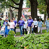 Record-Eagle/Douglas Tesner<br /> Participants stroll down Washington Street during Alzheimer's Association Memory Walk in Traverse City. About 200 people took part in the event.