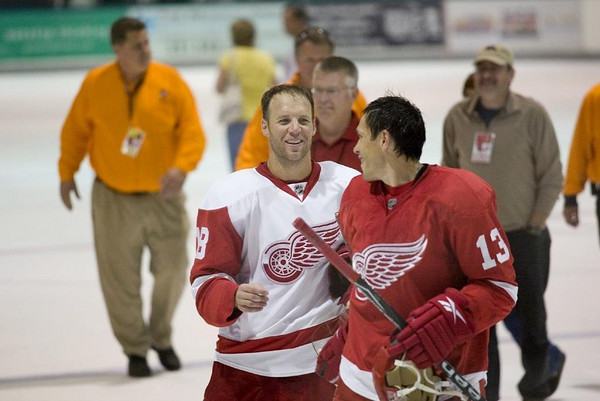 Record-Eagle/Jan-Michael Stump<br /> Kirk Maltby and Pavel Datsyuk leave the ice Tuesday.