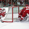 Record-Eagle/Keith King<br /> Gustav Nyquist had the highlight goal in Tuesday's Red-White game on this wrap-around.