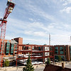 Record-Eagle/Jan-Michael Stump<br /> The steel frame of Hagerty Insurance's 42,000-square-foot building on Lake Street in Traverse City's Old Town rises as construction progresses on the project.