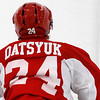 Record-Eagle/Jan-Michael Stump<br /> Pavel Datsyuk, normally number 13,  is wearing the number 24 in the preseason in honor of Ruslan Salei, who was killed in a plane crash earlier this month.