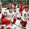 Record-Eagle/Keith King<br /> Red Wings listen as head coach Mike Babcock instructs during the first day of training camp Saturday at Centre ICE.