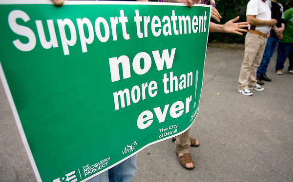 "Record-Eagle/Keith King<br /> A sign is held during the Addiction Treatment Services ""Lighting the Way to Recovery"" fifth annual candlelight vigil in Traverse City."
