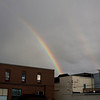 Record-Eagle/Keith King<br /> A double rainbow is visible over downtown Traverse City on Saturday.