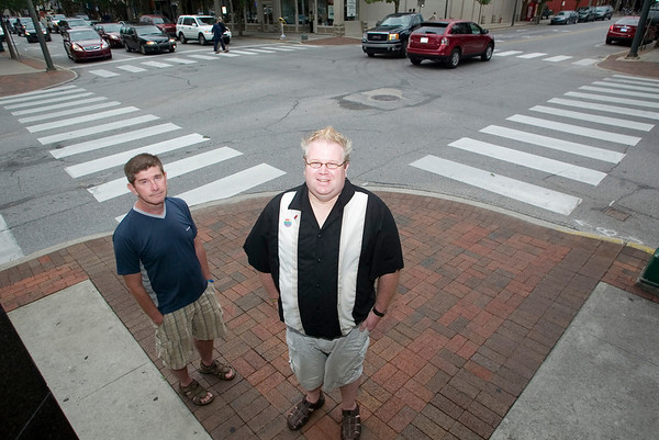 "Record-Eagle/Jan-Michael Stump<br /> Traverse City resident Flint Horton, left, and Brian Simerson, who's moving to Traverse City from Mesick, are in favor of Traverse City's proposed anti-discrimination ordinance. ""This is our civil rights movement of the '60s,"" Simerson said."