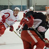 Record-Eagle/Jan-Michael Stump<br /> Players, including Johan Ryno, left, take to the ice as Red Wings prospects camp started Saturday at Centre ICE Arena.