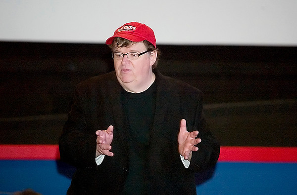 "Record-Eagle/Jan-Michael Stump<br /> Filmmaker Michael Moore answers questions following a press screening of his film, ""Capitalism: A Love Story,"" at the Bellaire Theater in Bellaire, Mich, on Saturday, Sept 19, 2009."