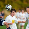 Record-Eagle/Jan-Michael Stump<br /> Petoskey's (5) and Traverse City West's Jon Spencer (10) fight for the ball in the first half of Thursday's game.