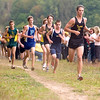 Record-Eagle/Jan-Michael Stump<br /> Traverse City Central's Drew Dancer leads a pack of runners in the Traverse City West Cross Country Invitational Tuesday at Hickory Meadows.
