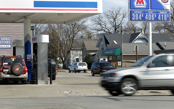 Record-Eagle/Keith King<br /> Gas prices are displayed Thursday, April 14, 2011 at the Marathon station along Eighth Street in Traverse City.