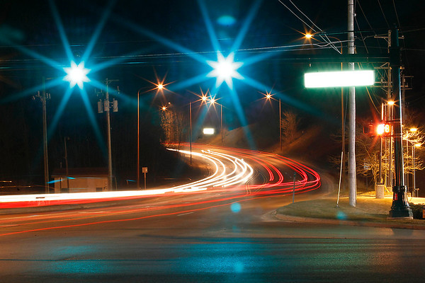 Record-Eagle/Jan-Michael Stump<br /> The corner of South Airport and Cass roads in a time-exposure photo. The Grand Traverse County Road Commission would like to use Grand Vision funds to repave South Airport Road and add sidewalk ramps at intersections.