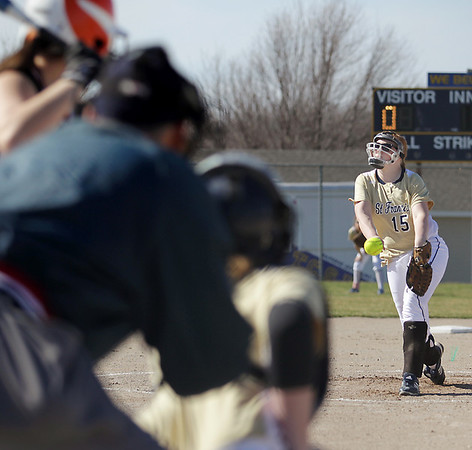 Record-Eagle/Keith King<br /> Traverse City St. Francis pitcher Bailey Johnson delivers a pitch to the plate in a 13-3 win over Harbor Springs.