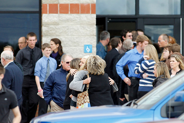 Record-Eagle/Jan-Michael Stump<br /> Mourners leave the Buckley Community School Gymnasium on Monday following the funeral of Haley Baldinger, who was killed in a car accident on April 1.