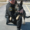 Record-Eagle/Marta Hepler Drahos<br /> Leelanau County Sheriff's Deputy and K-9 handler Greg Hornkohl plays with Nico, the department's dual-purpose K-9.