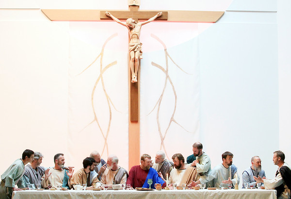 "Record-Eagle/Keith King<br /> A ""Living Last Supper,"" based on Leonardo da Vinci's painting, ""The Last Supper,"" is portrayed Sunday, Palm Sunday, at St. Patrick Catholic Church in Blair Township."