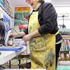 Record-Eagle/Keith King<br /> Debra Sanborn creates an encaustic piece.