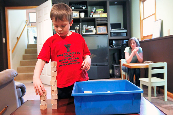 Record-Eagle/Jan-Michael Stump<br /> Alex Hentschel, 7, gets to play with blocks between instructional sessions.