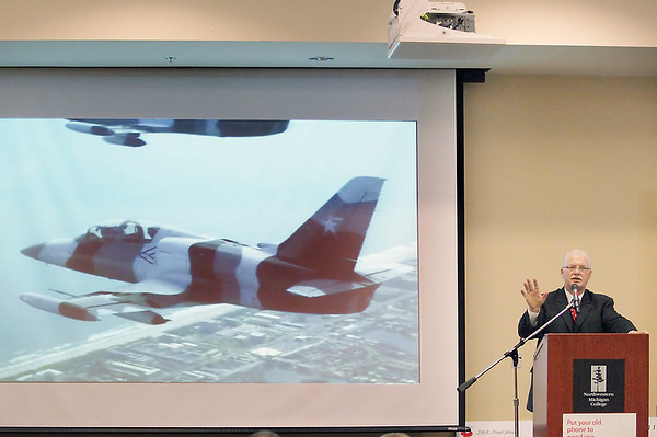 Record-Eagle/Keith King<br /> Tim Hinkley, executive director of the National Cherry Festival, speaks on Tuesday at the Hagerty Center about the Heavy Metal Jet Team that is planned for this summer's  National Cherry Festival.