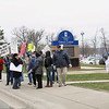 Record-Eagle/Bill O'Brien<br /> Dozens of residents demonstrated outside a conference at the Hagerty Center on Monday to protest budget proposals from Gov. Rick Snyder. Several GOP lawmakers attended the event. Hundreds also picketed Snyder's appearance in Cadillac on Tuesday morning.