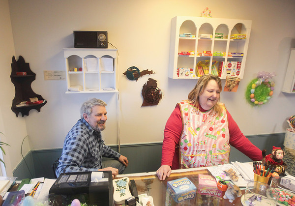 Record-Eagle/Keith King<br /> Felix and Sandra Bockhorst, owners of Sandy's Candies, talk Friday at Sandy's Candies in Mancelona.