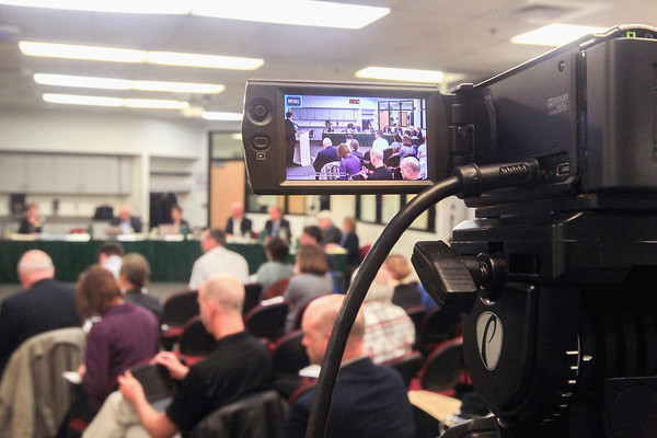 Record-Eagle/Keith King<br /> A Northwestern Michigan College (NMC) Board of Trustees meeting is visible on a video camera screen as the meeting takes place at the Parsons-Stulen Building on NMC's Aero Park Campus in Traverse City.