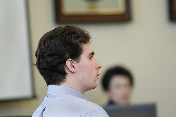 Record-Eagle/Keith King<br /> Tyler Shananaquet during closing arguments Thursday, April 25, 2013 in 13th Circuit Court in Traverse City.