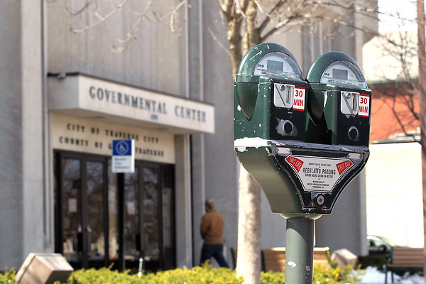 Record-Eagle/Keith King<br /> A parking meter outside the Governmental Center in Traverse City.