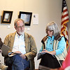 Record-Eagle/Keith King<br /> Lee Hornberger, left, Ross Richardson and Deni Scrudato, all of Traverse City, compare their spellings of the word 'discernible' at the Traverse Area District Library during a practice round for the Cast a Spell Senior Spelling Bee that will be held May 6.