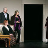 """Record-Eagle/Keith King<br /> From left to right, Bonnie Deigh, Michael Nunn, Nan Worthington, Sandra McClain and Kelly Roberts-Curtis rehearse a scene from """"The Cemetery Club."""""""