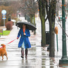 Record-Eagle/Keith King<br /> Cindy Rutherford, of Traverse City, and her dog Sandy, take a rainy walk along Union Street in downtown Traverse City.