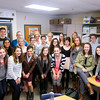 Record-Eagle/Keith King<br /> The Traverse City Central Senior High School yearbook class, along with Katelyn Patterson, far left, advisor, stand for a photo in their class.