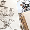 Record-Eagle/Nathan Payne<br /> Drawings of Lou Gehrig, and Leo Nomellini lay among other drawings on a bed in Doug Weist's Traverse City home.
