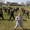 Record-Eagle/Keith King<br /> Master Sifu Jim Adkins of White Tiger Martial Arts, leads attendees at the Open Space Saturday, April 27, 2013 during World Tai Chi and Qigong Day sponsored by White Tiger Martial Arts and the Northern Michigan Cultural Center.