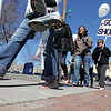 Record-Eagle/Keith King<br /> Participants in One Day Without Shoes walk shoeless Tuesday from United Way of Northwest Michigan through downtown Traverse City and back. The annual event was started by TOMS Shoes.