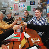 Record-Eagle/Keith King<br /> Frank Lahde, from left, Gary Roush, Kristine Seelye, Eric Seelye and Susan Cooper, all members of a group for those with an interest in speaking German, raise their glasses Thursday, March 21, 2013 at Right Brain Brewery as they begin their meeting.