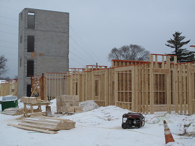 Record-Eagle/Mark Urban The first floor of the Trailside45 apartment community is taking shape along Garfield Avenue.