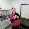 Record-Eagle/Keith King<br /> Dr. Jen Klabunde holds a kitten while standing Wednesday, August 14, 2013 at Northwood Animal Hospital in Green Lake Township. Klabunde plans to dance for No Unwanted Pets in the upcoming SwingShift and the Stars.