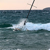 Record-Eagle/Jan-Michael Stump<br /> A sailboat anchored off Clinch Beach is swamped by waves on a windy Friday evening in Traverse City.