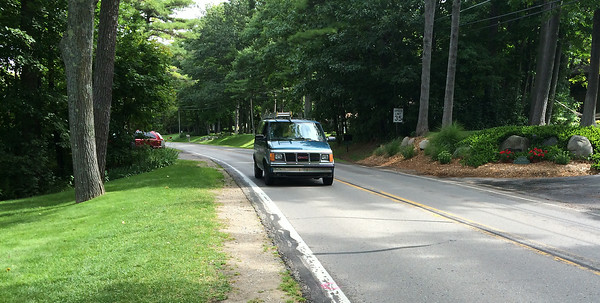 Record-Eagle/Matt Troutman<br /> A van drives past a stretch on Peninsula Drive where Ann Riley, 73, died in a pedestrian crash Monday evening.