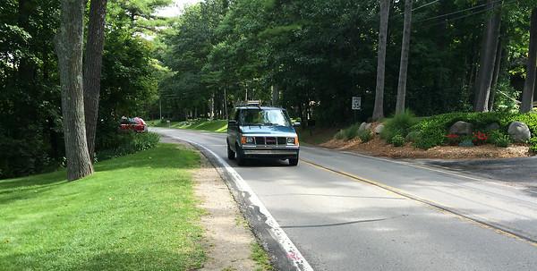 Record-Eagle/Matt Troutman A van drives past a stretch on Peninsula Drive where Ann Riley, 73, died in a pedestrian crash Monday evening.