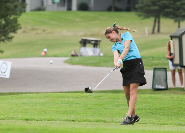 Record-Eagle/Keith King Traverse City West's Taylor Kehoe tees off during the Traverse City Central Bob Lober Classic at the Grand Traverse Resort and Spa.
