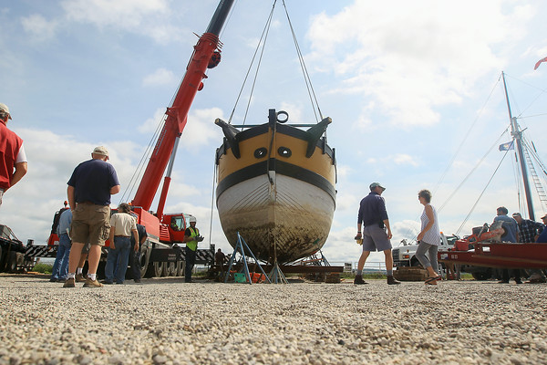Record-Eagle/Keith King The armed sloop Welcome is supported after being lifted out of West Grand Traverse Bay. The vessel is now planned to be taken to the Headlands International Dark Sky Park in Mackinaw City.