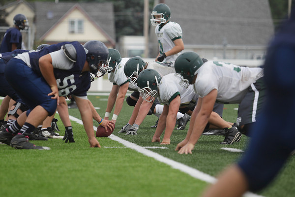 Record-Eagle/Keith King<br /> The Traverse City West High School defense lines up against Mount Pleasant Thursday, August 22, 2013 during a scrimmage at Thirlby Field in Traverse City.