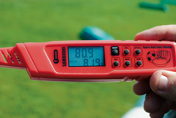 Record-Eagle/James Cook<br /> Athletic trainers and coaches are being equipped with devices such as these to keep track of the heat index during practices, scrimmages and games.