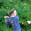 Record-Eagle/Jan-Michael Stump<br /> Traverse City Central's Courtney Dye tees off on Spruce Run during Tuesday's Bob Lober Golf Invitational Tuesday at the Grand Traverse Resort and Spa in Acme.