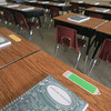 Record-Eagle/Keith King<br /> Planners lie on desks for students in the classroom of Penny Emeott at Suttons Bay Elementary School.