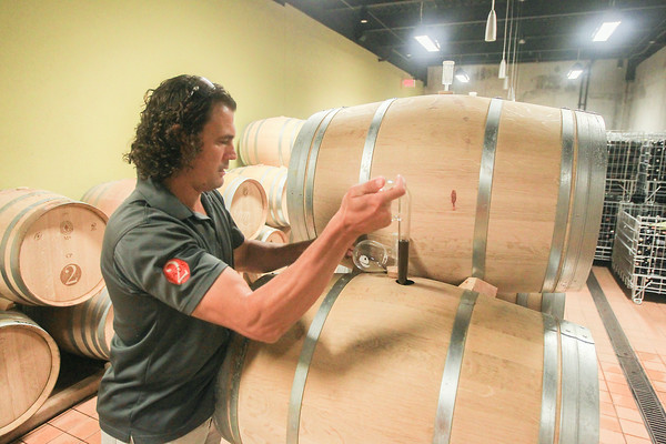 Record-Eagle/Keith King<br /> Cornel Olivier, winemaker and co-owner at 2 Lads Winery, uses a wine thief to gather a sample of cabernet franc wine prior to performing a barrel taste.