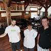 Record-Eagle/Keith King<br /> Co-owners Ryan MacManus, left, and Jason Thibodeau, right, as well as head chef, Rebecca Tranchell, stand Tuesday, August 28, 2012 at the Om Cafe in Traverse City.
