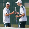 Record-Eagle/Jan-Michael Stump<br /> Traverse City West's Jake Diss, left, and Graeme Placek celebrate a point during Tuesday's match against Traverse City Cental at No 1. doubles.